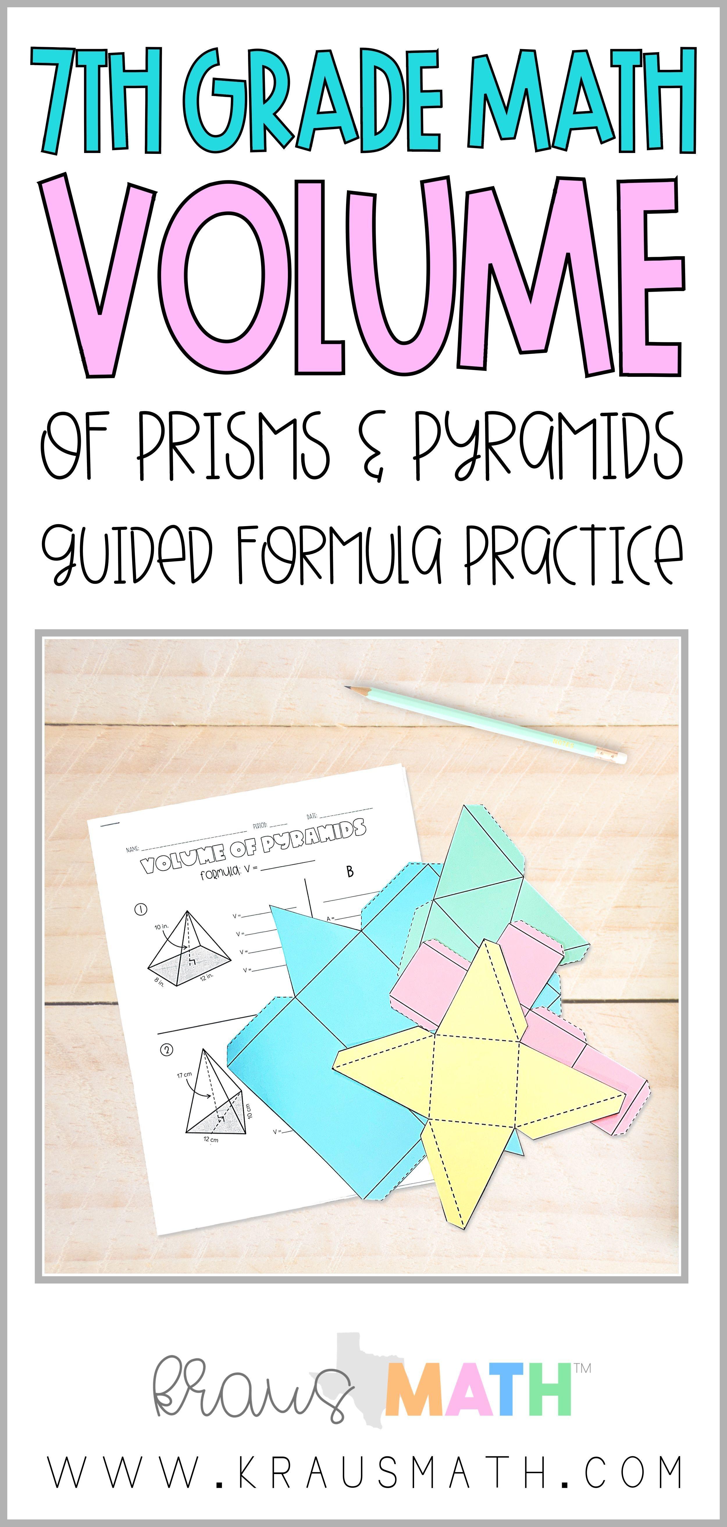Volume Of Prisms Pyramids Worksheet Bundle Teks 7 9a Kraus Math Middle School Math Math 7th Grade Math