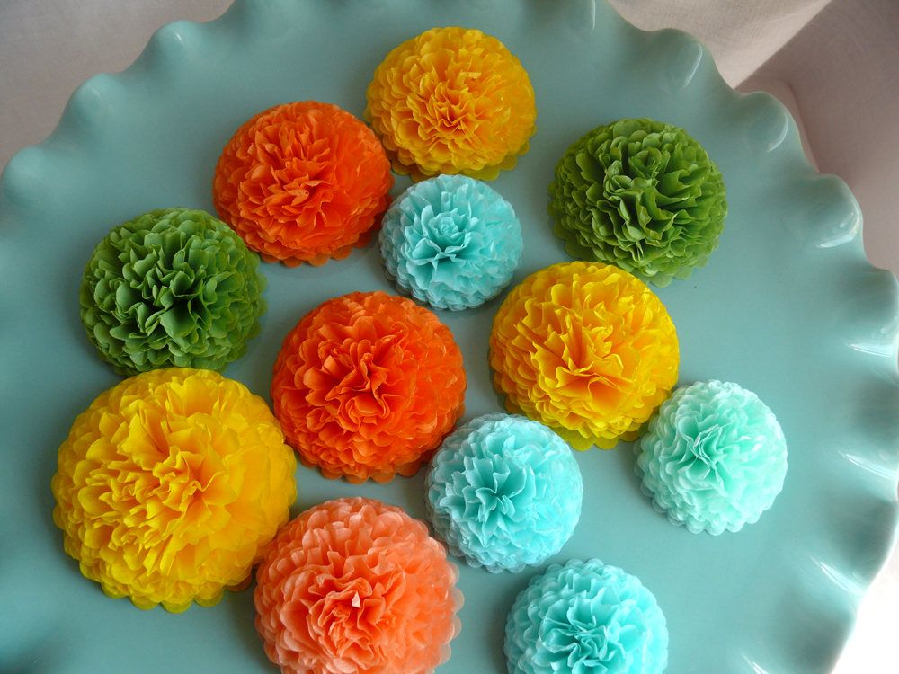 Button mums tissue paper flowers tropical colors small paper button mums tissue paper flowers tropical colors small paper flowers wedding flowers shower decorations orange yellow green aqua mightylinksfo