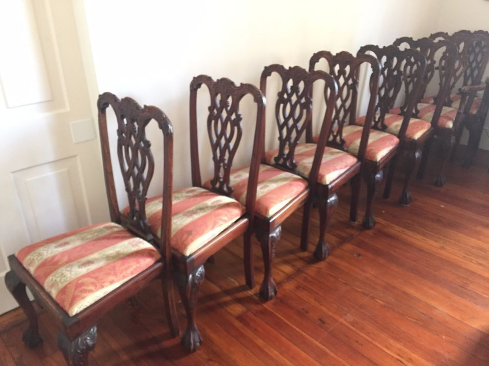Set Of 8 Vintage Chippendale Style Ball Claw Mahogany Dining Chairs Chippendale With Images Dining Chairs Chair Chippendale Dining Room Chairs
