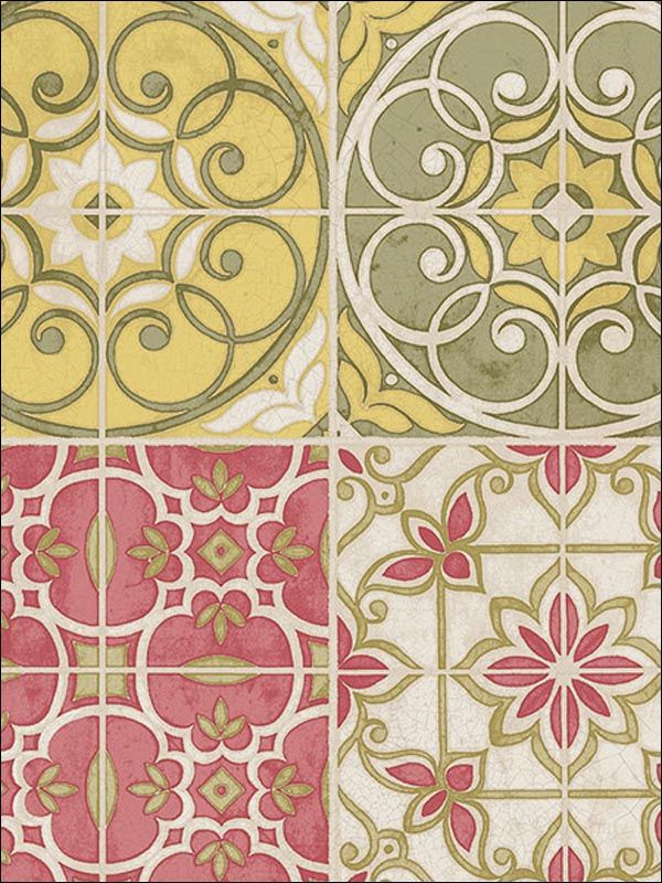 Retro Vintage Kitchen Tiles Wallpaper Red Yellow Blue Green Grey 1930 Chic In Home Furniture DIY Materials