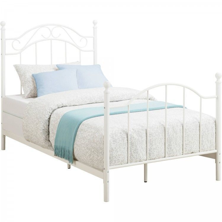 Princess White Metal Frame Twin Size Bed Kids Student Room Bedroom