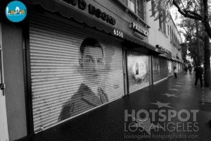 Buster Keaton #mural #streetart on a store front at #Hollywood Blvd's public art project | Artsmoto.com