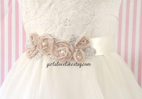 Beige Flower Ivory Ribbon Sash, Bridal Champagne Sash, Bridesmaid Sash, Flower Girl Sash