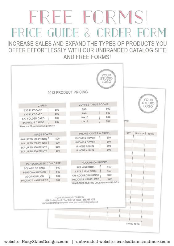 Free Photography Forms  Pricing Guide And Order Form   Photo