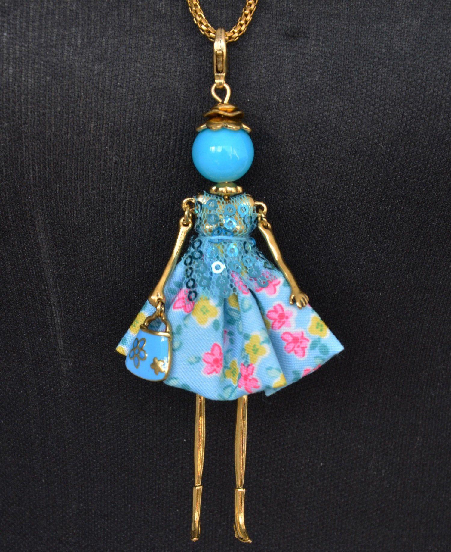 sp175 - sautoir collier pendentif poup u00e9e femme et cha u00eene m u00e9tal