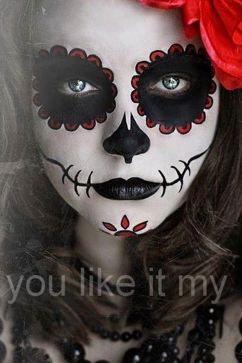 sugar skulls face painting see more you like it my sugar skull makeup for girls on halloween dead - Halloween Skull Painted Face