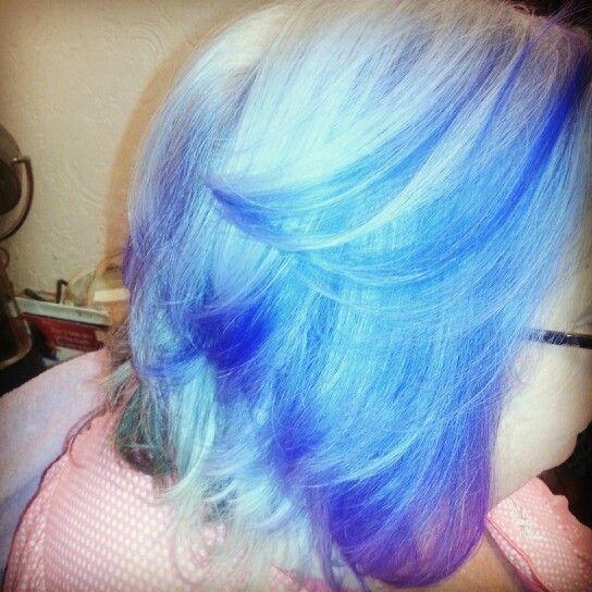 Purple lowlights, layered haircut