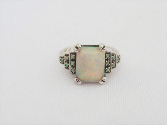 Vintage Sterling Silver White Opal Engagement Ring Size 7