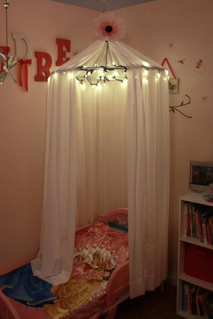 DIY Bedroom Furniture :DIY Canopy Bed : DIY Little Girls Bed Canopy with  Lights