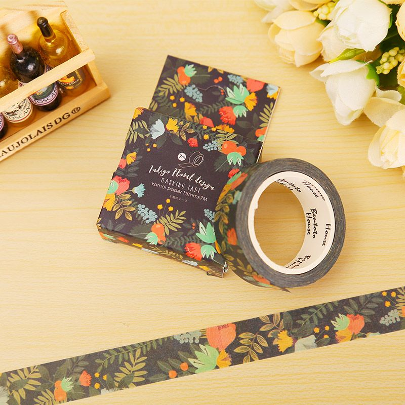 7M DIY Self Adhesive Flowers Style Washi Sticker Masking Tape Craft Decorative