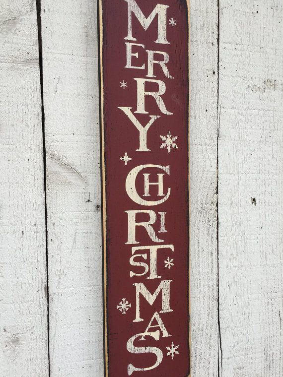 Vintage Merry Christmas Vertical Wood Sign By Americanatheart Christmas Signs Merry Christmas Sign Rustic Christmas