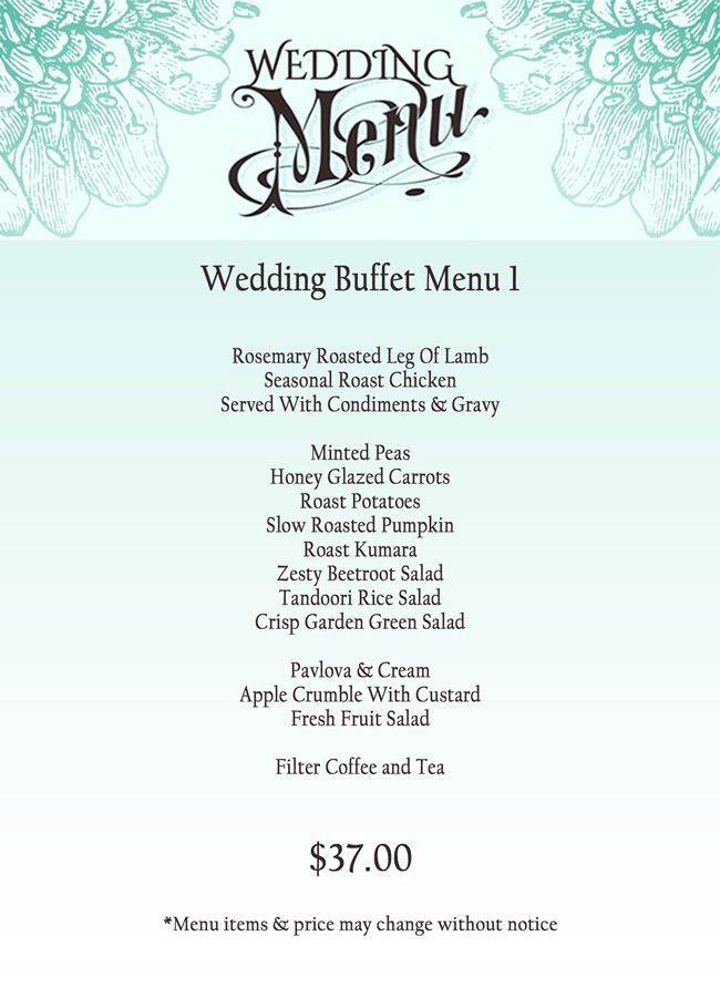 Wedding Menu Buffet 1 Jpg 650 910