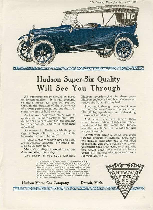 1918 Hudson Ad Vintage Advertisements Old Advertisements