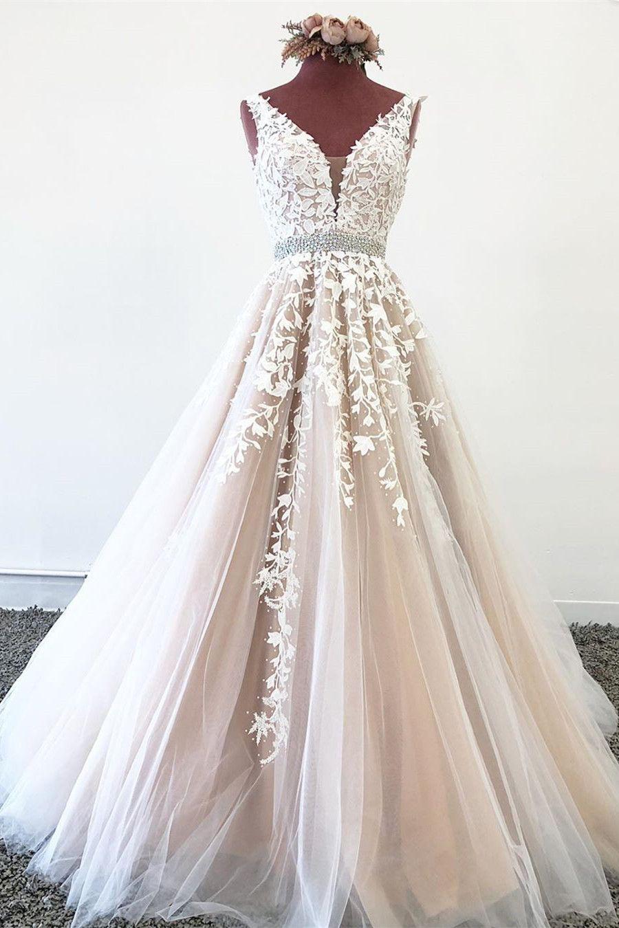 Elegant V Neck Backless Pink Tulle Lace Appliques Long Prom Dress OHC014 – Tulle Prom Dresses