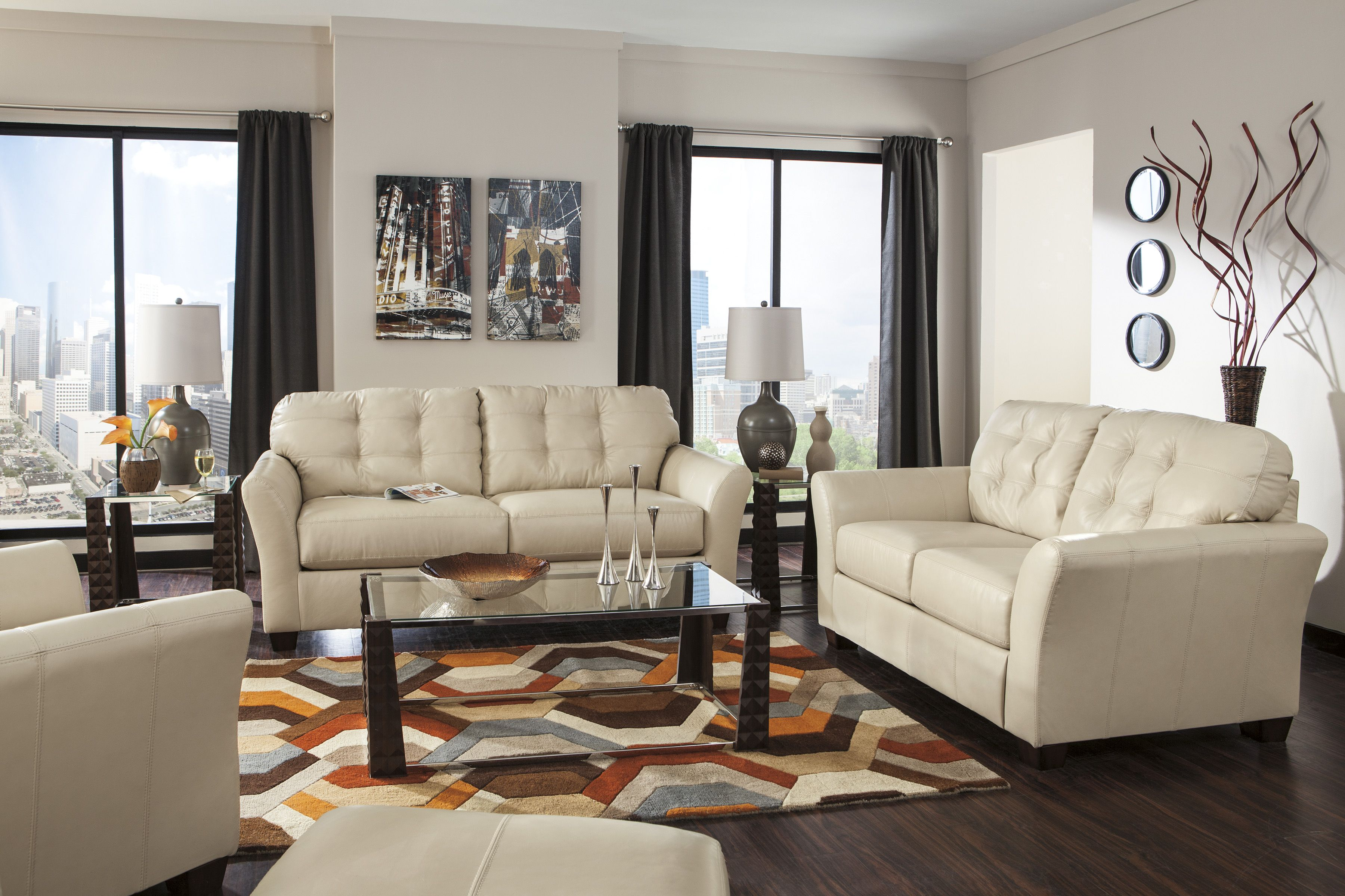 Ashley Furniture 99802 Santiago Cream Leather Set Click On Pin For High Res Image Furniture Sofa Living Room