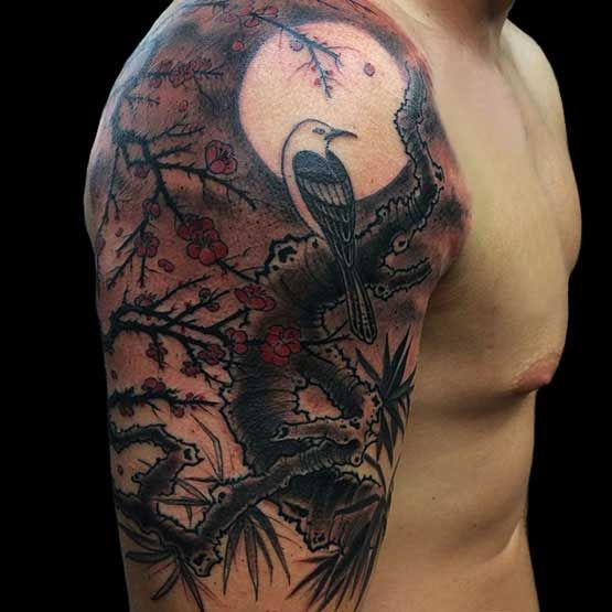 Full Moon Tattoo Designs And Meaning Full Tattoo Cherry Blossom Tattoo Men Cherry Blossom Tattoo Moon Tattoo Designs