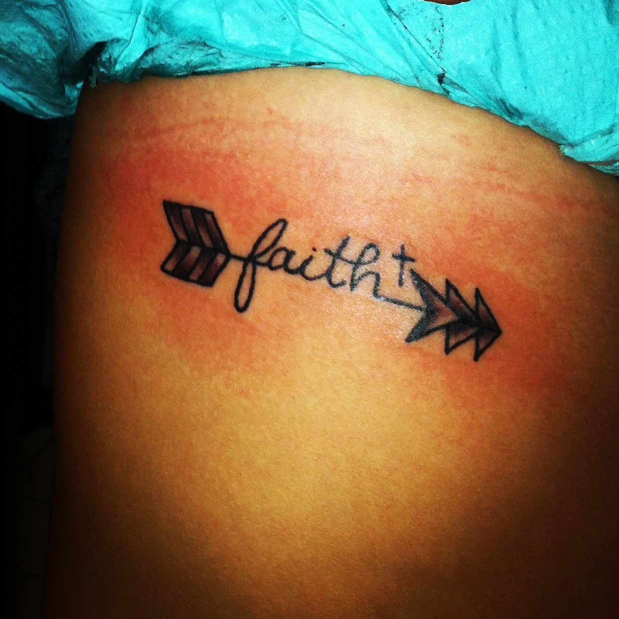 Arrow faith tattoo maybe with the word strength instead for Strength tattoos on ribs