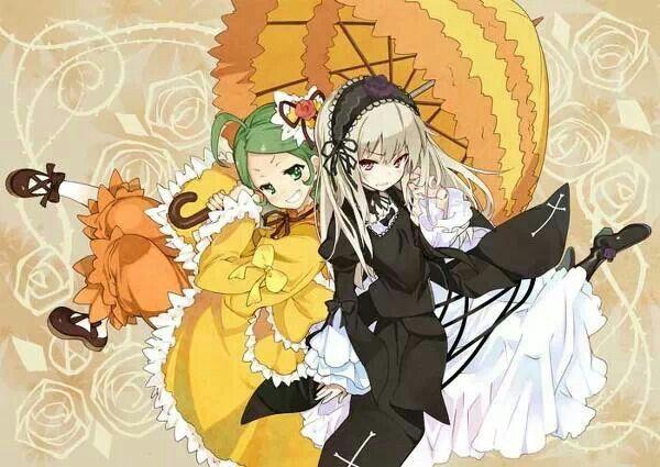 kanaria and suigintou rozen maiden イラスト アニメチビ アニメファンアート
