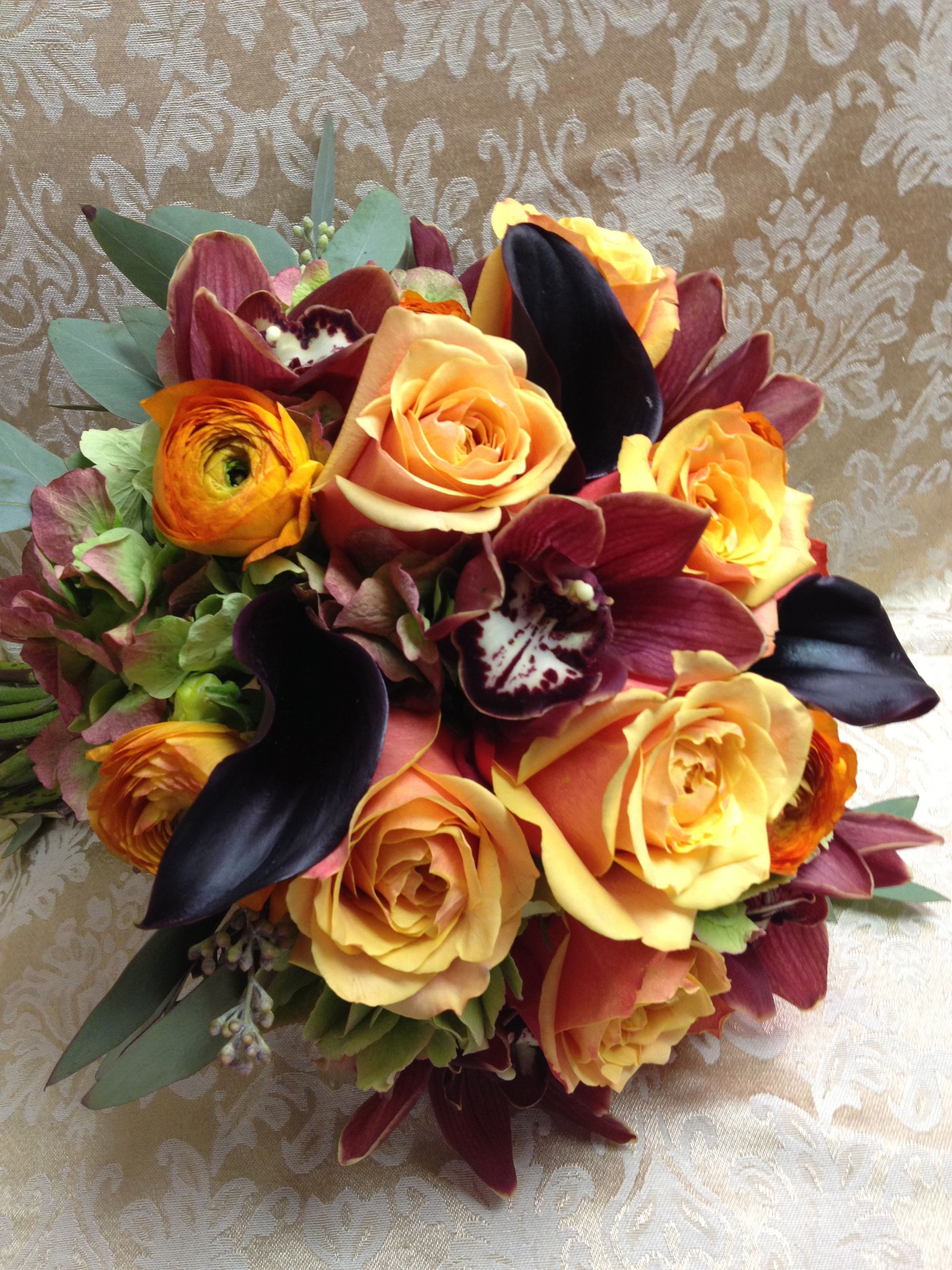 Rich Fall Bouquet With Cherry Brandy Roses Deep Purple Calla