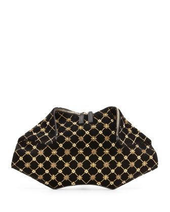 De-Manta Velvet Embroidered Clutch Bag by Alexander McQueen