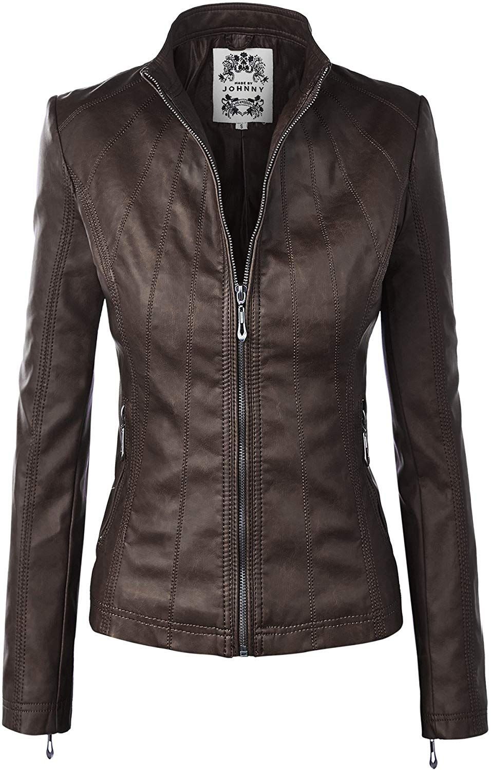 WJC877 Womens Panelled Faux Leather Moto Jacket S COFFEE