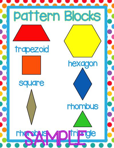Pattern Block Posters Pattern Blocks Vocabulary Cards Math