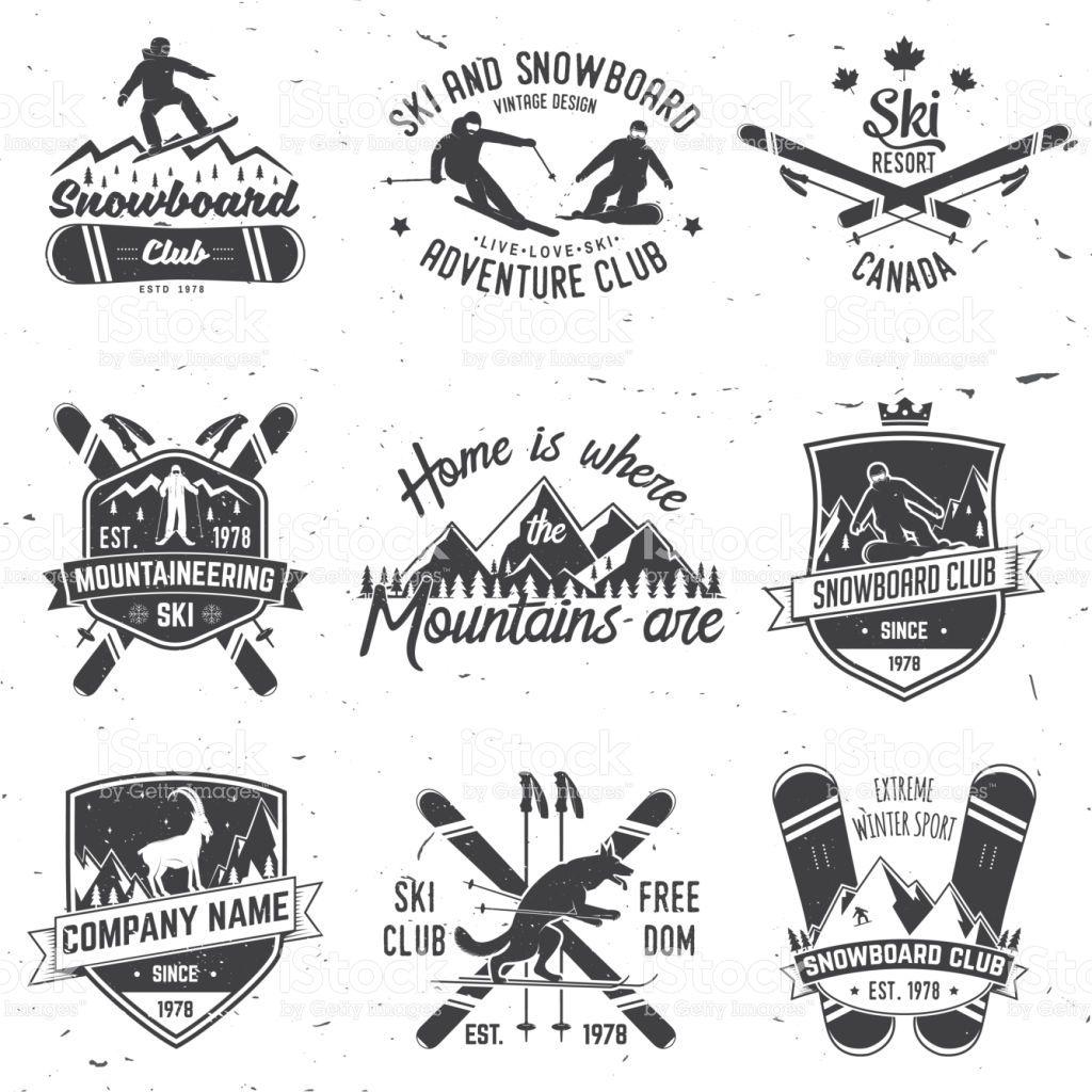 Ski And Snowboard Club Emblem Vector Illustration Concept For Skiing Snowboard Snowboard Design