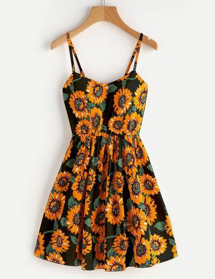 60dc19b64 Vestido de tirante de espalda con cordón con estampado de girasol al azar