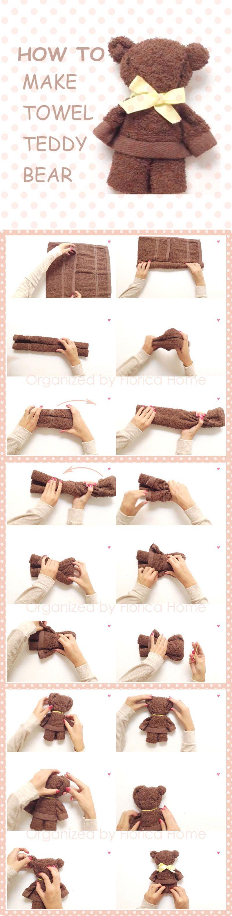 How to make a towel Teddy bear~  #Towel #howto #DIY #towelteddybear #teddybear #toys  Follow @FloricaHome on Instagram~ #beartoy