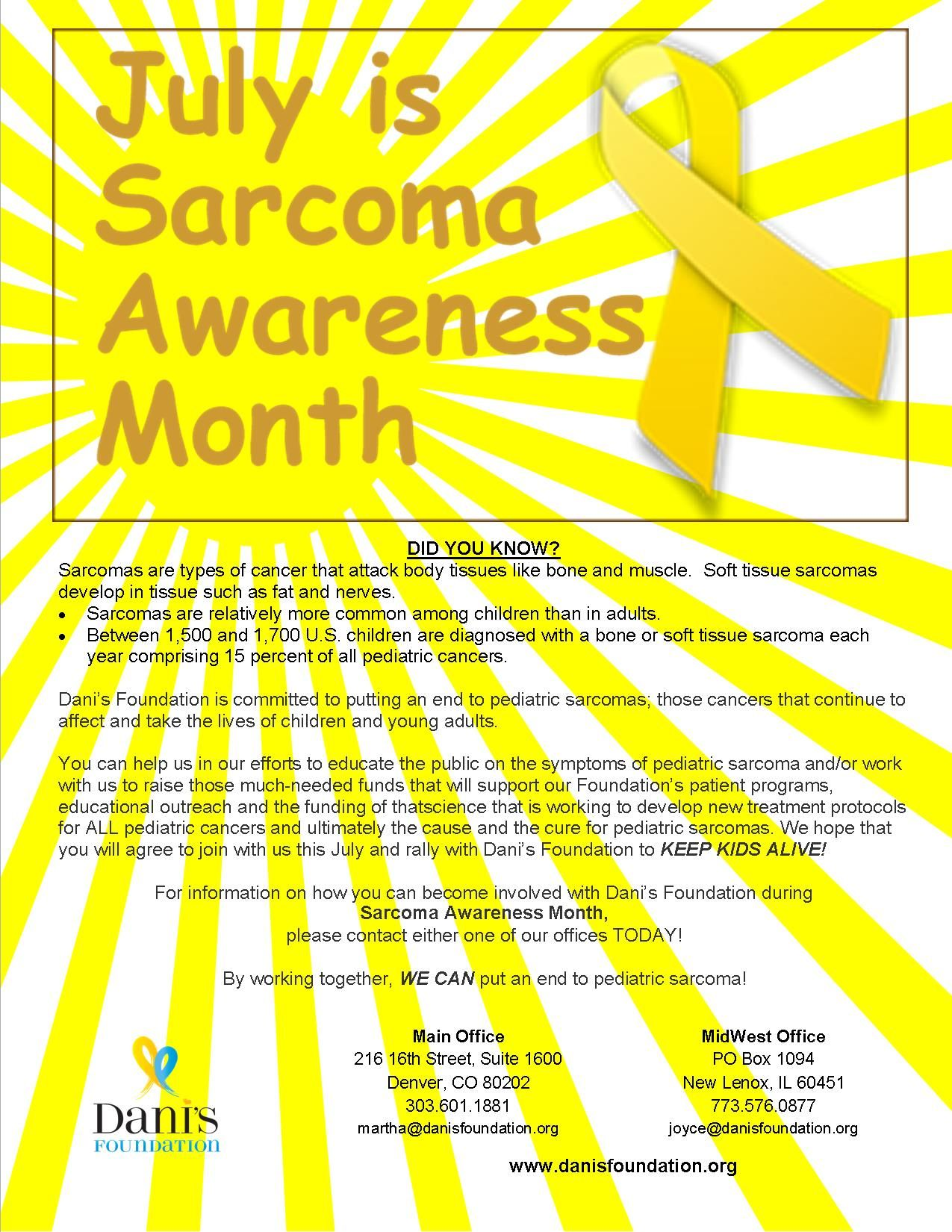 July is Sarcoma Awareness Month  Dani's Foundation is