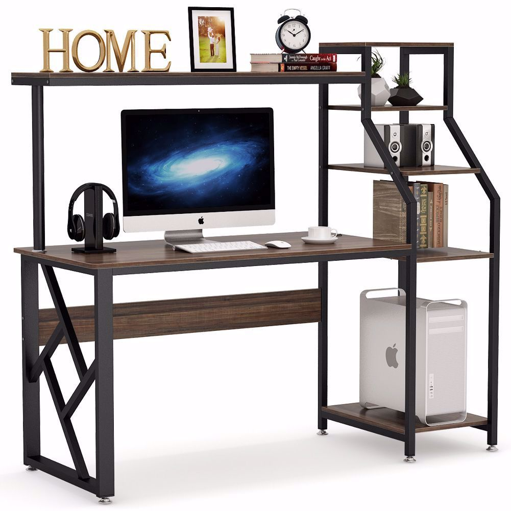 Compact Design Creates A Perfect Solution For Small Space And Maximizes Your Home Office Workspace Perfe In 2020 Rustic Office Desk Computer Desk Design Computer Table