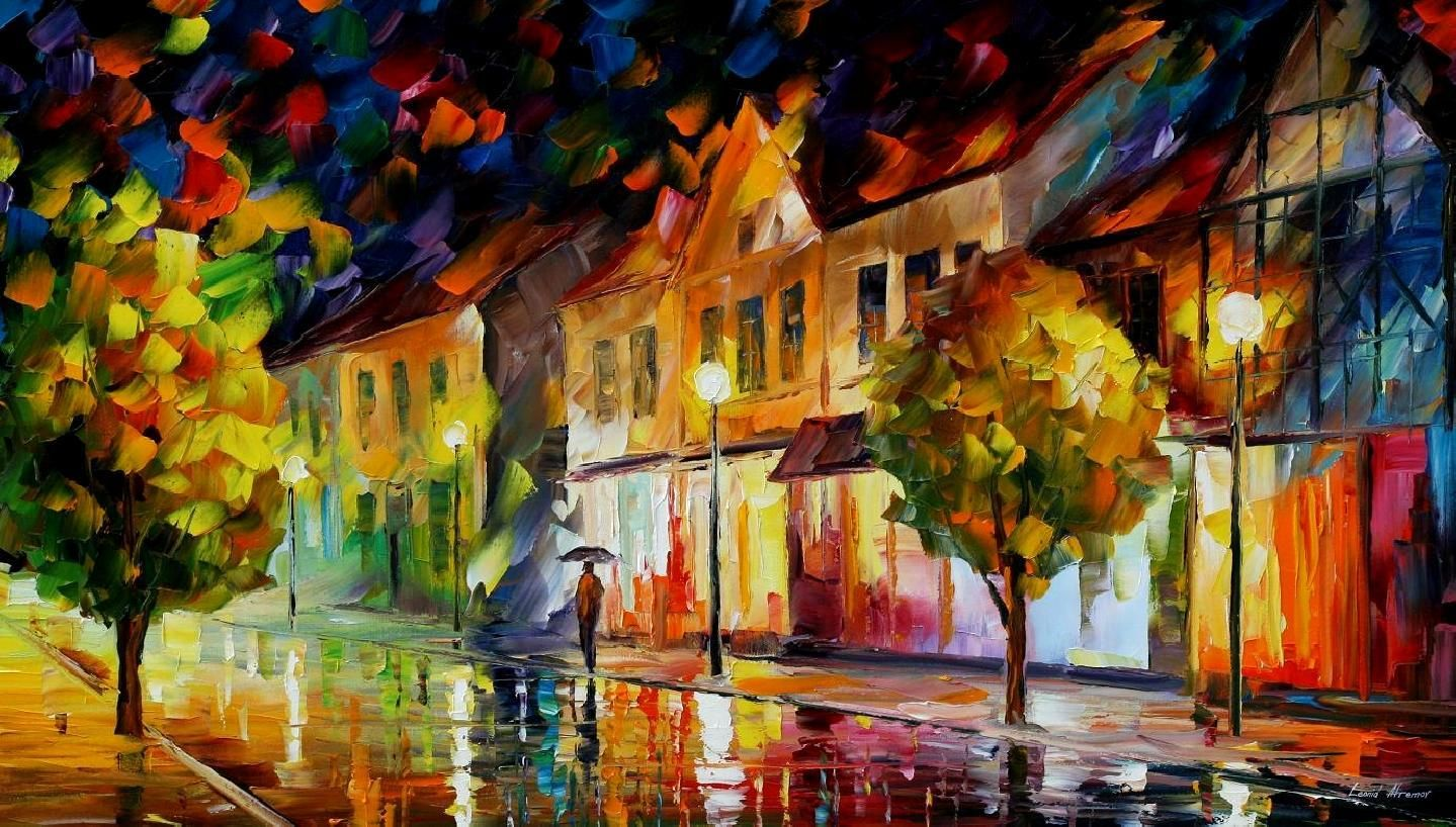 ALONE IN THE CITY - PALETTE KNIFE Oil Painting On Canvas By Leonid Afremov http://afremov.com/ALONE-IN-THE-CITY-PALETTE-KNIFE-Oil-Painting-On-Canvas-By-Leonid-Afremov.html?bid=1&partner=20921&utm_medium=/vpin&utm_campaign=v-ADD-YOUR&utm_source=s-vpin