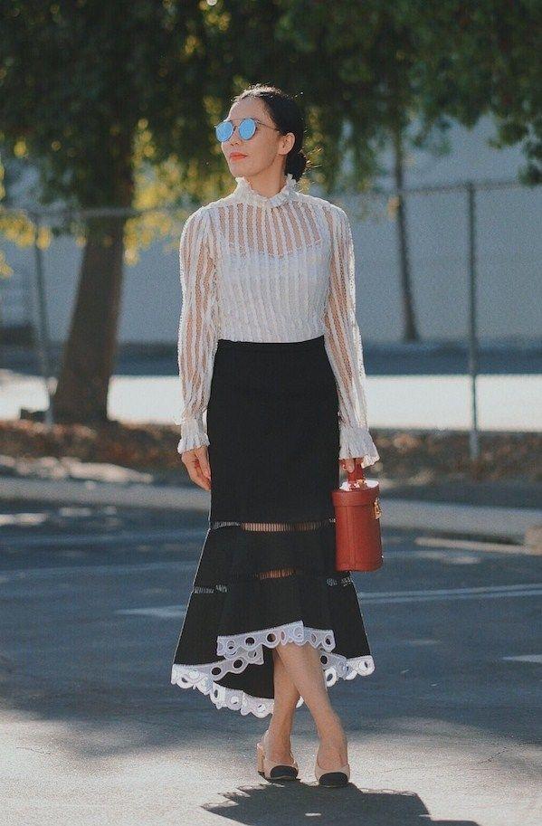 021e7f6f2e04 10.16 ladylike (Zimmermann lace top + Alexis hi-low skirt + Chanel two-tone  slingbacks + Mark Cross bucket bag + Gentle Monster sunnies)