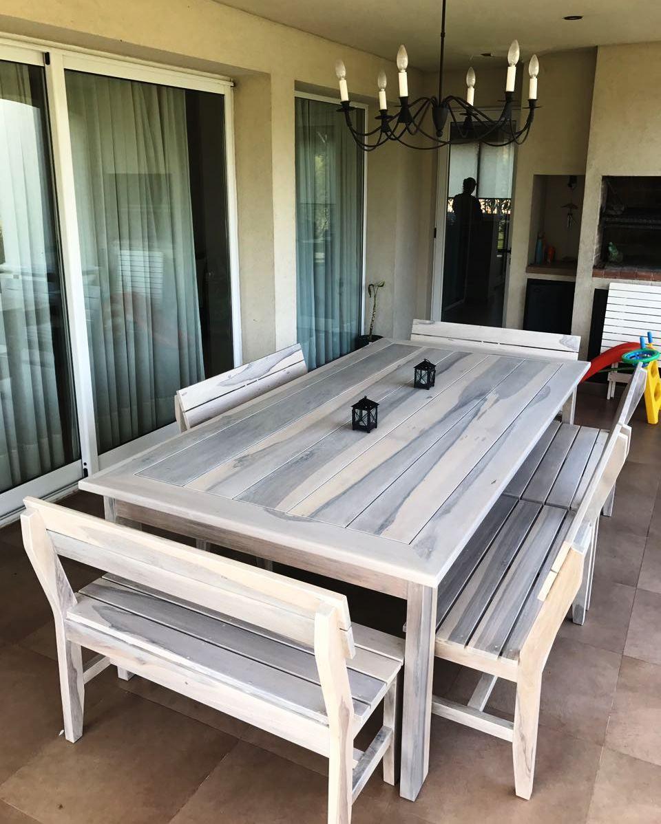 mesa y bancos Coleman madera guayubira Vintage | Comedores de Madera ...
