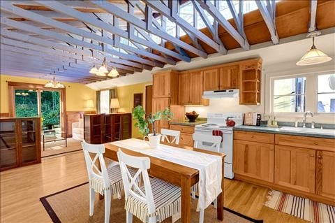 Seattle Houseboat Kitchen Exposed Trusses Floating House House