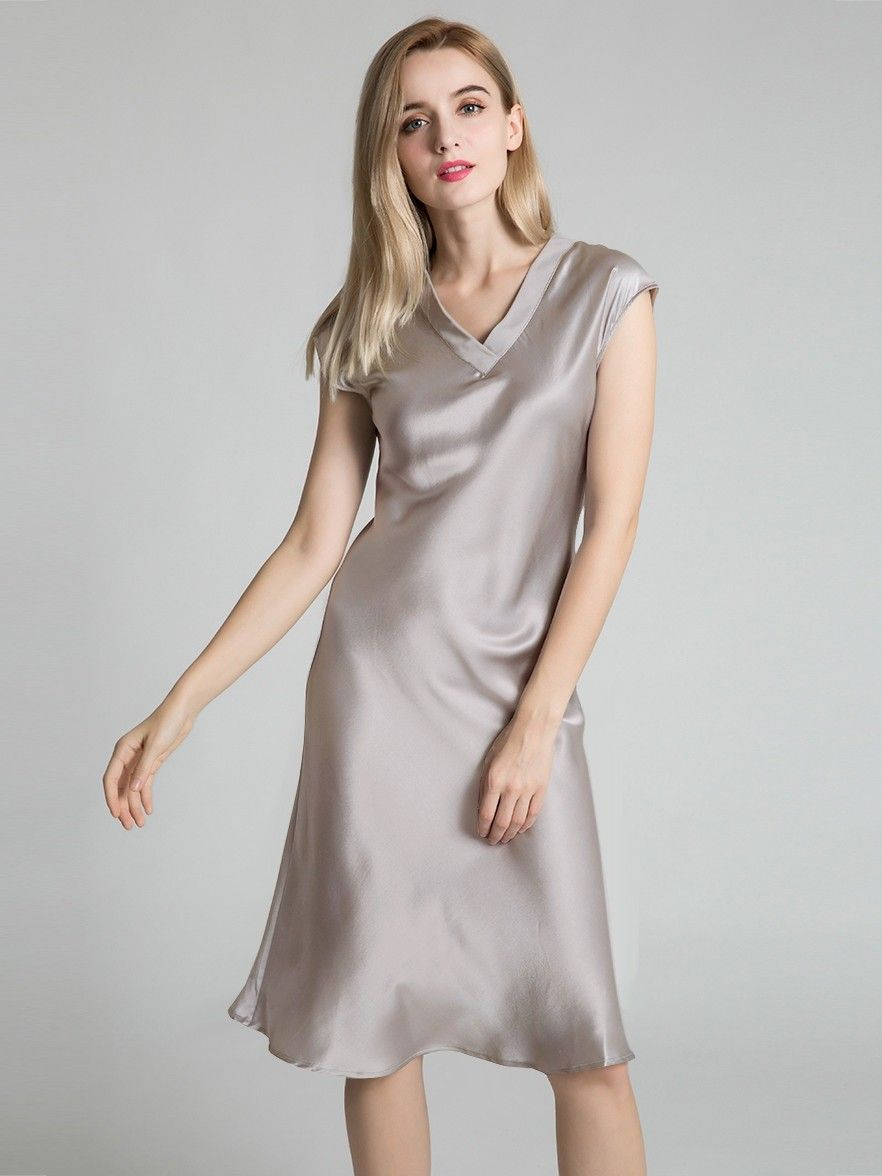 Women Ladies Soft Silk Sleepwear Long Nightgown Nightdress
