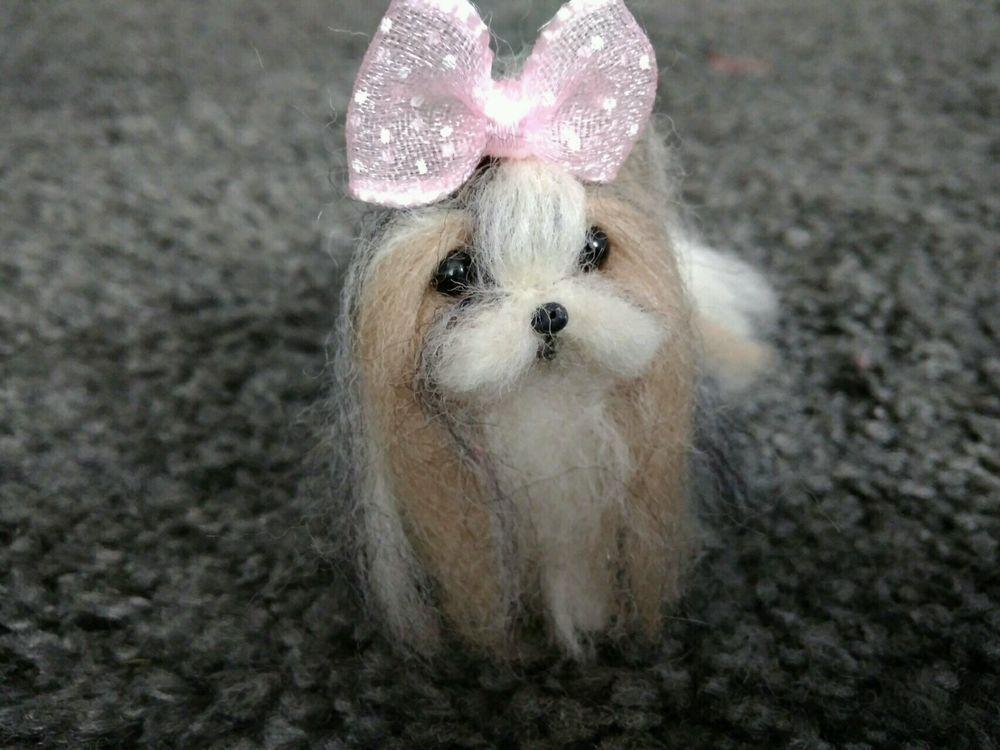 Ooak Needle Felted Miniature Shih Tzu Puppy Dog Dolls Bears