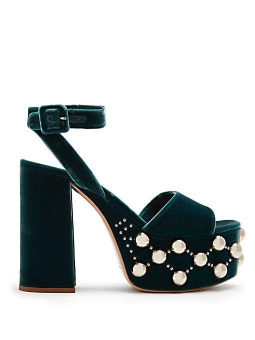 d15afcfc4c7b Miu Miu Stud-embellished velvet platform sandals