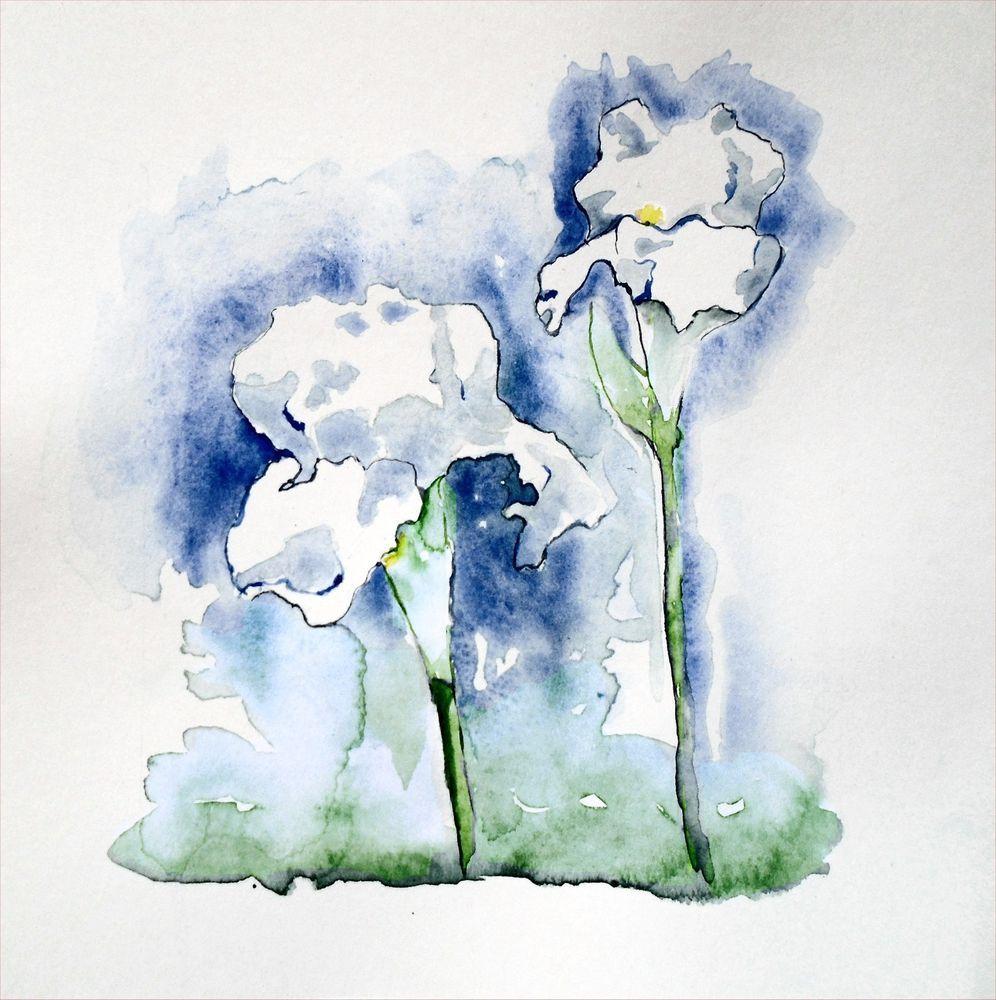 Nsmorrart original watercolor 8 x 8 painting flowers garden white nsmorrart original watercolor 8 x 8 painting flowers garden white iris realism izmirmasajfo