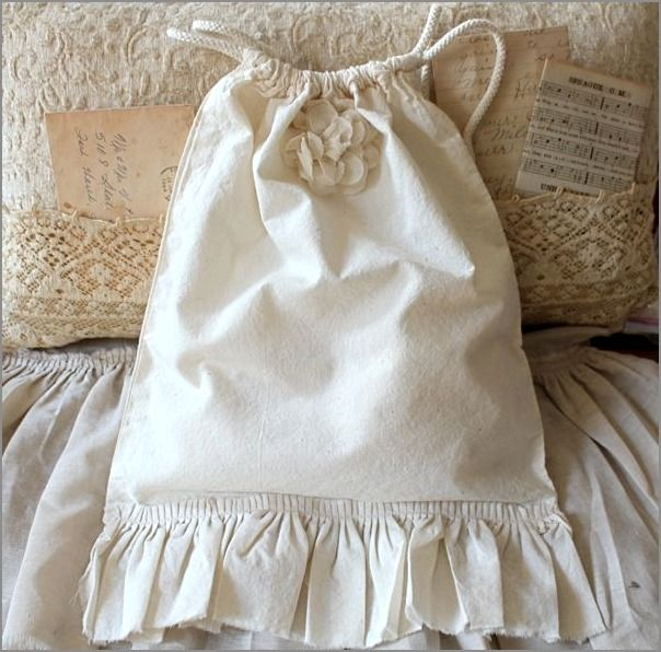 Muslin Tattered Ruffles Bag and a gorgeous pillow behind it!