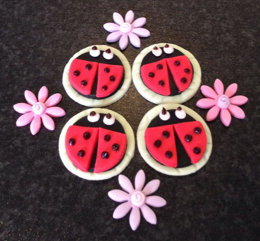 16 x edible icing Ladybird and flower cupcake toppers cake decorations on eBay - £16.95 with free UK delivery.