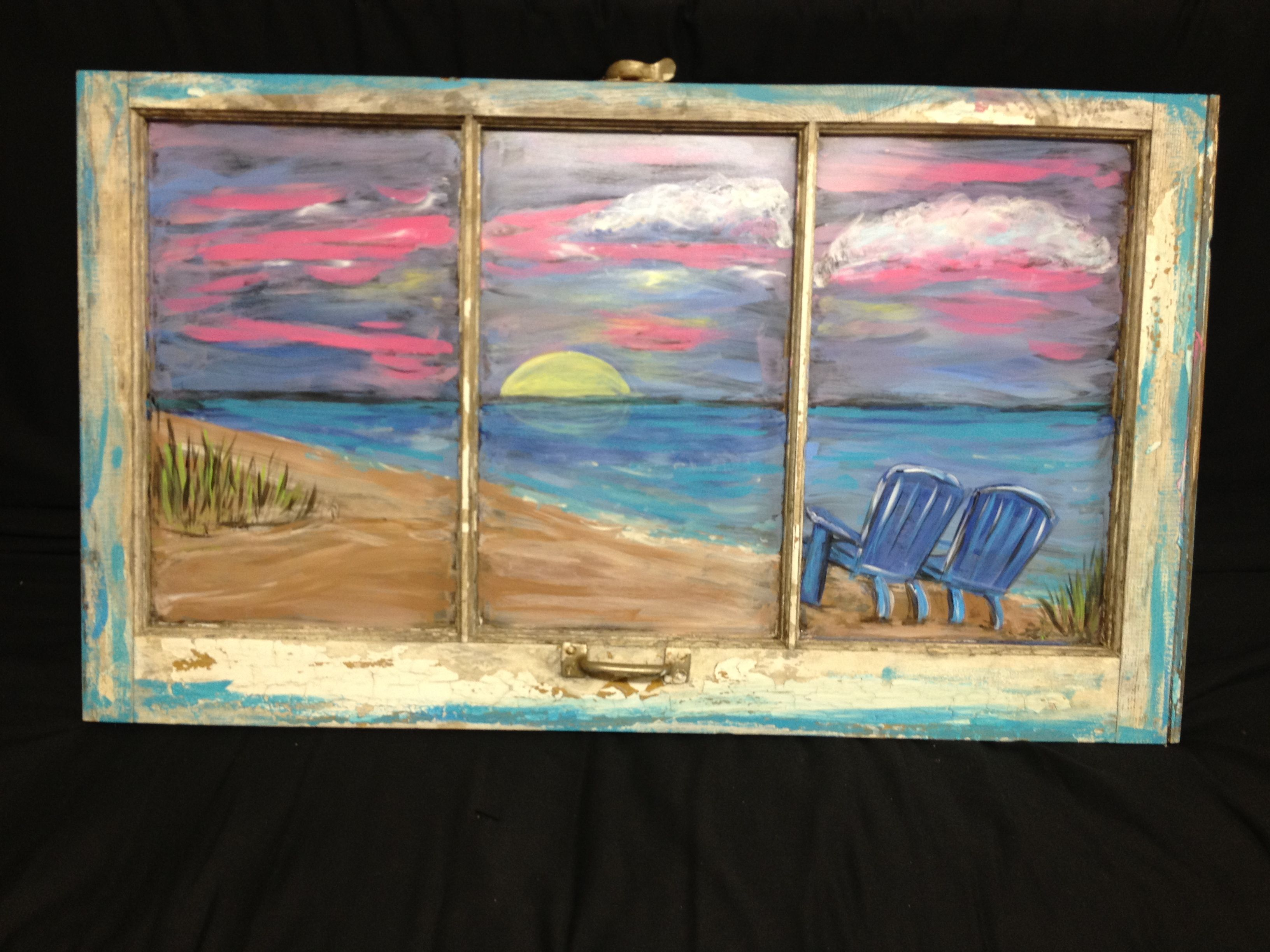 Beach Scene On A Vintage Window By Rita Clawson Window Painting Window Frame Art Window Art