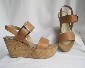 MARC FISHER Natural Nude Beige Tan Leather Cork Heel Wedge Sandals 7 | eBay