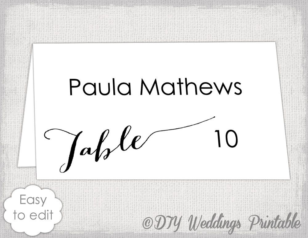 place card template modern calligraphy script diy black white wedding name cards bombshell escort card you edit word download avery 5302