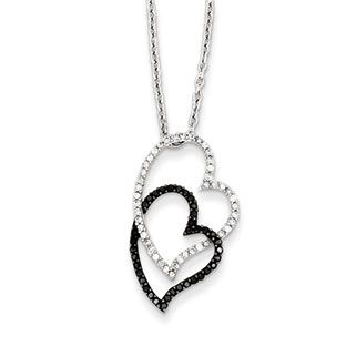 38 carat white black diamond double heart pendant necklace in 38 carat white black diamond double heart pendant necklace in silver available exclusively at mozeypictures Image collections