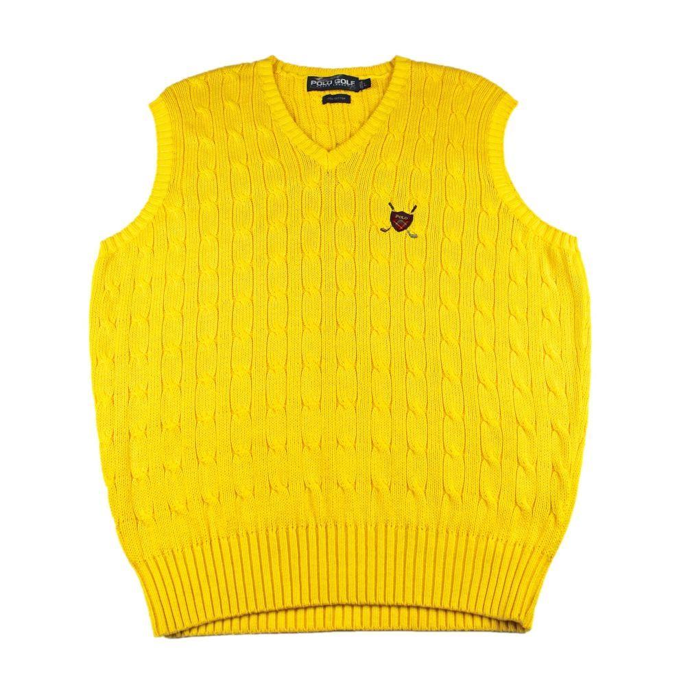 Polo Golf Ralph Lauren Yellow Cable Knit Cotton Sweater Vest Mens Size L Large Sweater Vest Mens Yellow Cable Knit Sweater Cotton Sweater