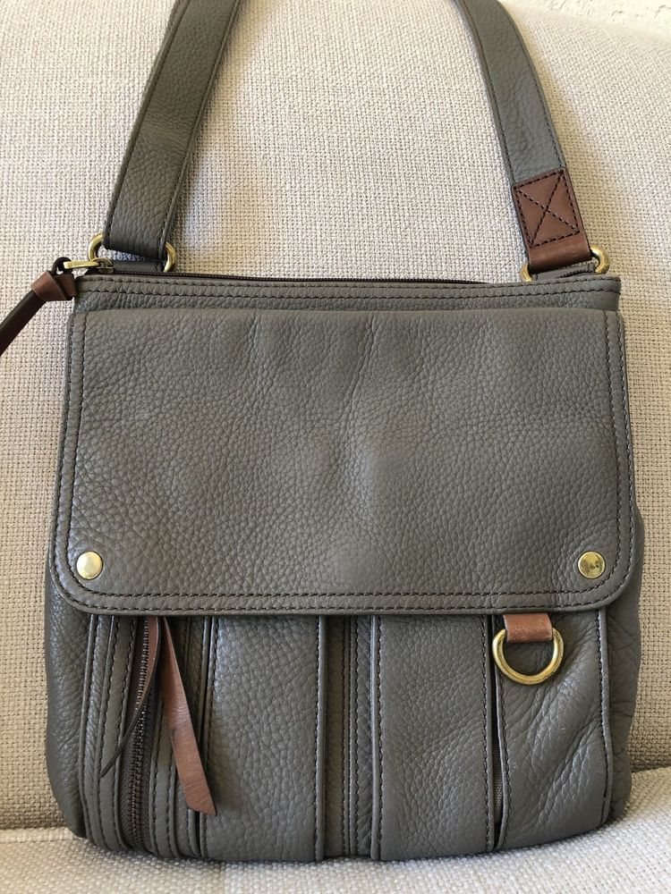 d5255aa078 Fossil Morgan Traveler Crossbody Bag Mushroom Gray Leather ZB4798 | eBay