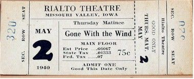 davids ticket to see gone with the wind in 1940 no