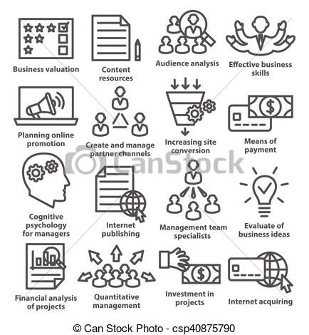 Vector Business Management Icons In Line Style Pack 09 Stock Illustration Royalty Free Illustrations Stock Clip Business Icon Business Management Icon