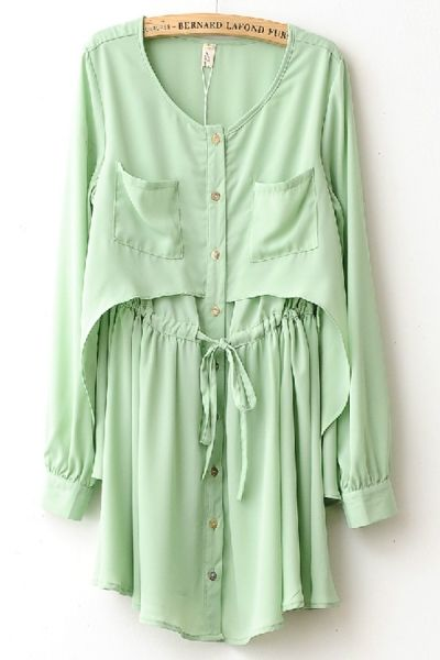 Fashion Long Sleeve Overlay Chiffon Mini Dress